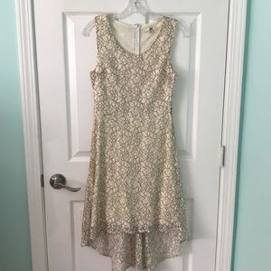 Cream and black floral lace high low dress